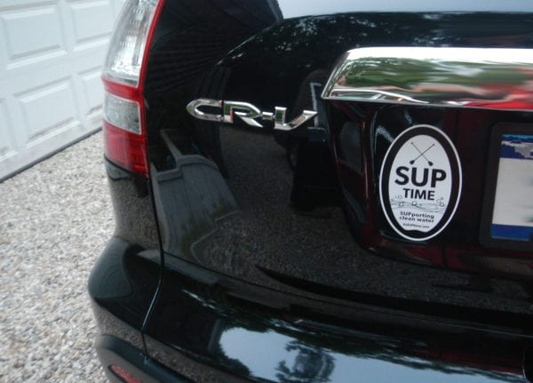 SUPtime oval magnet on car